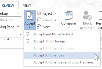 Accept All Changes command on the Accept menu
