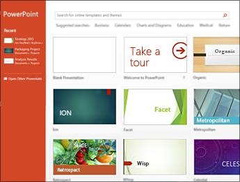 PowerPoint 2013 start screen