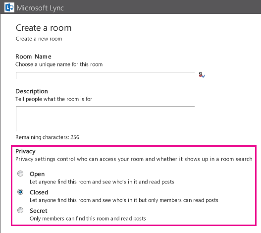 Screenshot of Create a chat room window with membership options highlighted