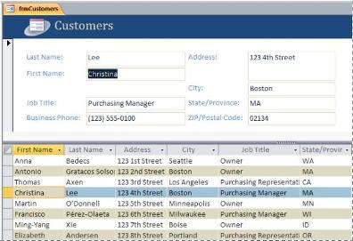 A split form in an Access desktop database