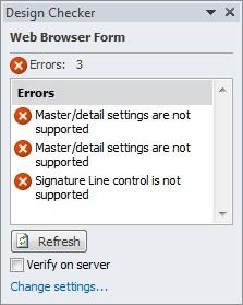 Verify the design of a form