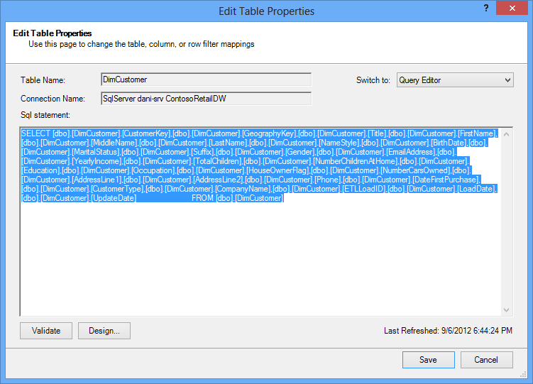 SQL query used to retrieve the data