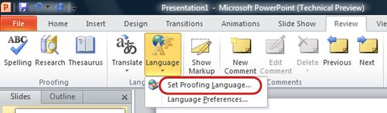 powerpoint ribbon review tab set language