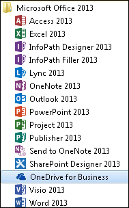 OneDrive for Business 2013 in the Office 2013 program group in Windows 7