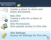 Site Settings Site Menu