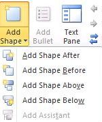 add shape button dropdown list