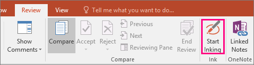 Shows the Start Inking button on the Review tab in Office