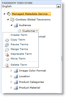 Use the menu to manage terms within a term set.