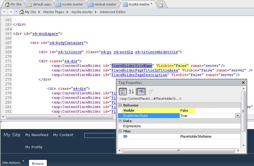 This shows the tag properties for the PlaceHolderSiteName control.