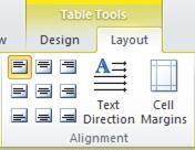 Table Tools Layout tab