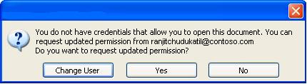 Dialog box showing that a document with restricted permission was forwarded to an unauthorized person
