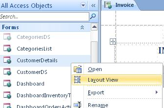 open a web form or report in layout view