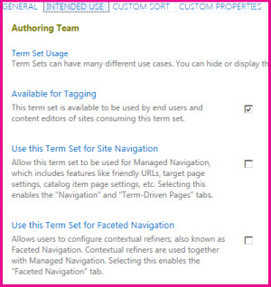 Term Store properties let you configure settings such as tagging