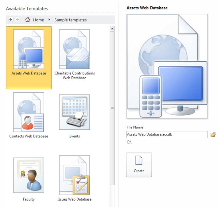 Available Templates in Backstage view
