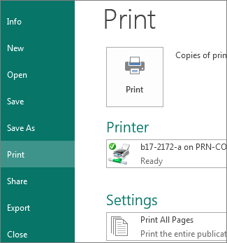 Screenshot of the Print options in Publisher.