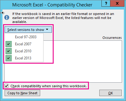 Compatiblity Checker, showing versions to check
