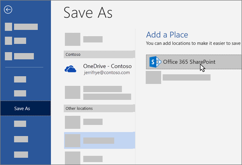 Adding OneDrive for Business as a place to save to in Word