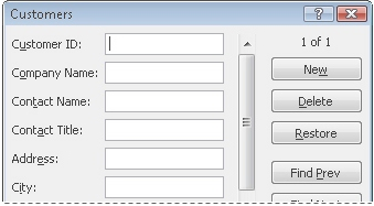 Example of data form