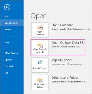 Open an Outlook data file