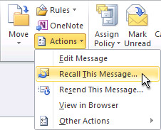 Recall This Message command on the ribbon