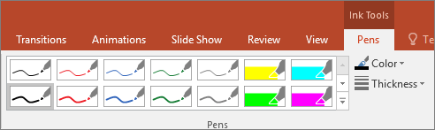 Shows Pen style options in Office