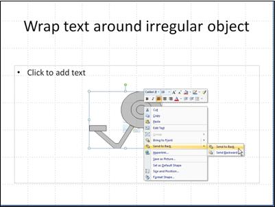 slide with irregular object and right-click menu