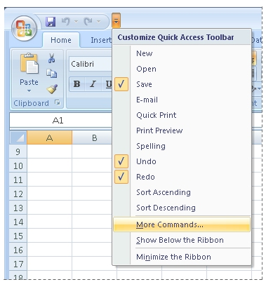 Shortcut menu for Quick Access Toolbar