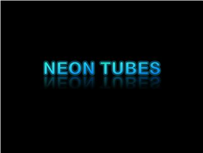 """Glowing """"neon tubes"""" text with reflection"""