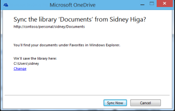 Sync library dialog with Change location link