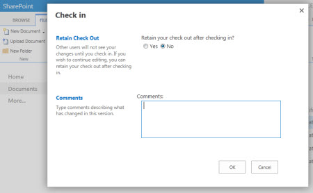 CheckIn dialog box