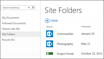 Select Site Folders in the Quick Action bar in Office 365 to see the list of SharePoint Online sites you're following.