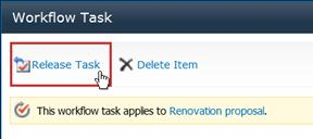 Release Task button on task form