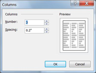 Text box tools columns dialog for Publisher 2010
