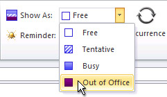 Show time as Out of Office command