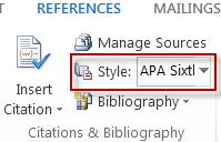 Choose the citation style to use in reference citation in Word 2013.