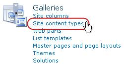 The Site contents type link under Galleries