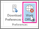 The Work Offline button in Outlook 2013