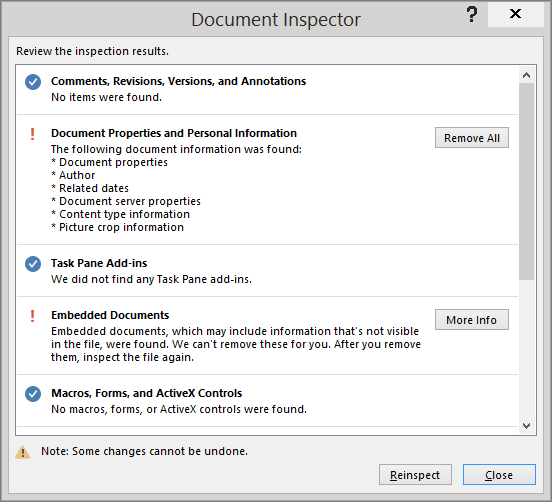 The Document Inspector dialog box is shown with the option to Remove All