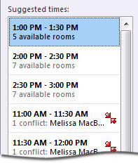 Suggested times pane for a meeting request