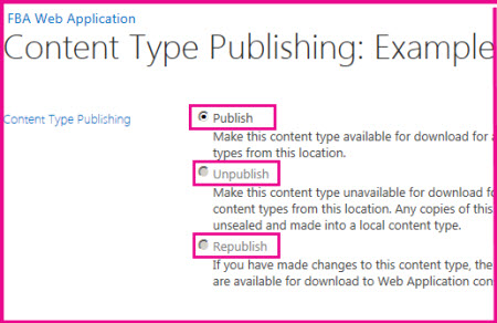 On the Content Types Publishing page in a hub site you can publish, unpublish, or republish a content type.