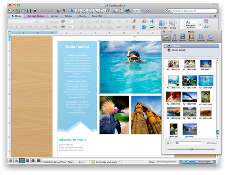 Word document showing the media browser
