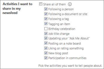User profile newsfeed settings