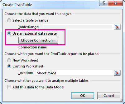 Create PivotTable dialog box with Use an external data source selected
