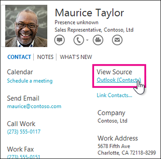 The Outlook View Source link in a contact card