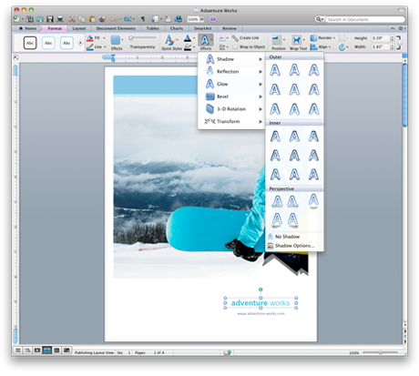 Word interface showing the new Office for Mac ribbon