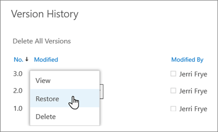 Select 'Restore' from the drop-down menu for a selected document version