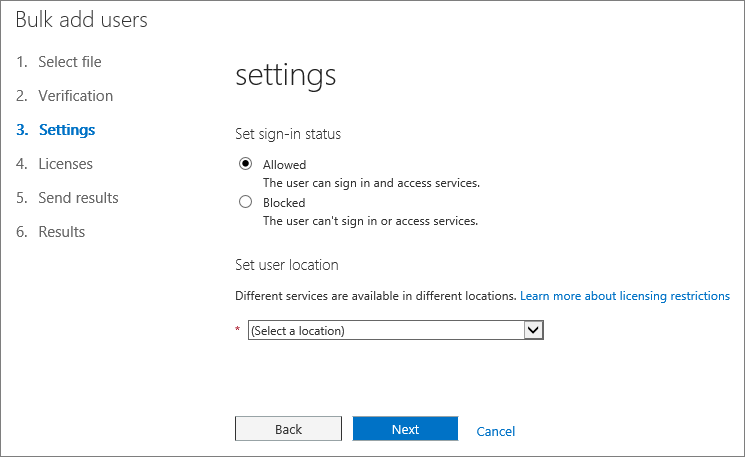 Step 3 of the Bulk Add Users Wizard - Settings