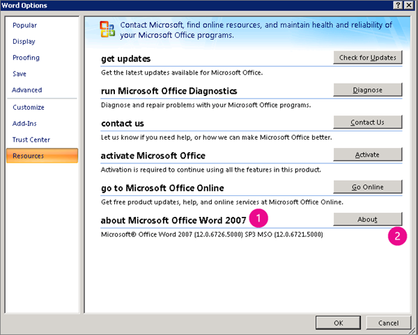 Resources window under Word Options in Word 2007