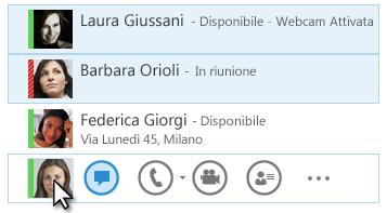 Captura de pantalla con los contactos y su estado correspondiente, y el icono de mensaje instantáneo resaltado