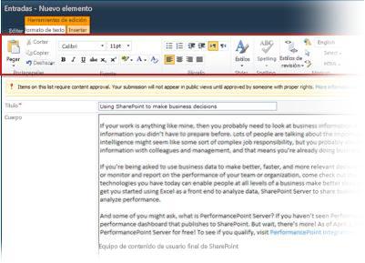Editor de texto enriquecido para crear blogs